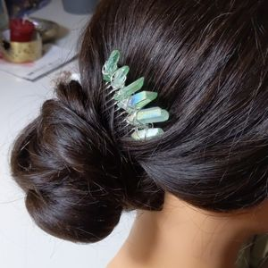 Green holographic crystal accessory hair comb